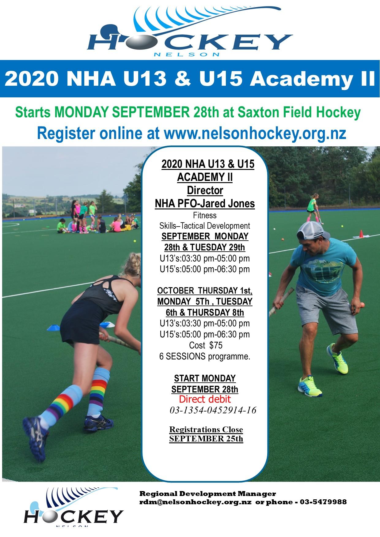2020 NHA U13 & U15 ACADEMY II Start Monday September 28th! Registrations Open!!!